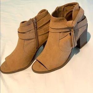 Open toed, camel booties